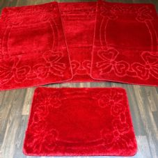 ROMANY TOURER SIZES MATS TRAVELLER SET NON SLIP SUPER THICK RED WASHABLES RUGS